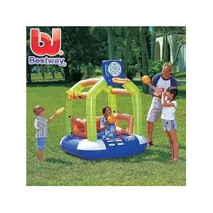 Info Lengkap Astro Buoy Play Gym 52065     Ukuran produk 140x150x170 cm     Permainan bola basket, lempar ring dan bouncing     Termasuk 2 buah bola basket 20 cm     Kapasitas berat maksimum 45 kg     Termasuk lem penambal