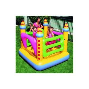 Rp.770.000         Info Lengkap Castle Bouncer 52126     Ukuran produk 183x183x168 cm     Dinding bouncer dapat dipindah sesuai keinginan     Kapasitas berat maksimum 85 kg     Termasuk lem penambal