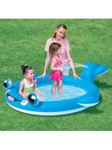 Rp 245.000 Kolam motif ikan Lumba-lumba  Bestway Wild Whale Spray Bestway     Kode Produk:53049     Ketersediaan:Tersedia     Berat:2,00 kg Fitur produk :     Didesain dengan karakter ikan yang unik dan menarik     Menggunakan bahan vinyl yang aman dan nyaman untuk anak anda     Ekor ikan yang dapat mengeluarkan air dari belalainya     Kapasitas air 155 liter     Ukuran produk : 198 x 170 x 51 cm
